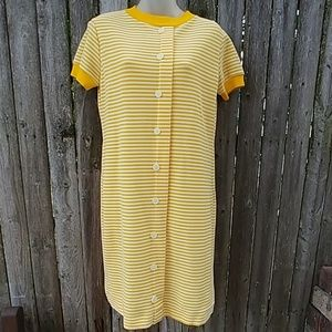 Yellow White Striped Vintage Polyester Dress